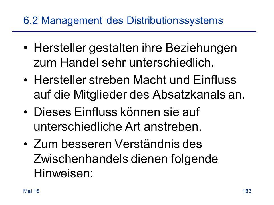 6.2 Management des Distributionssystems Hersteller gestalten ihre Beziehungen zum Handel sehr unterschiedlich.