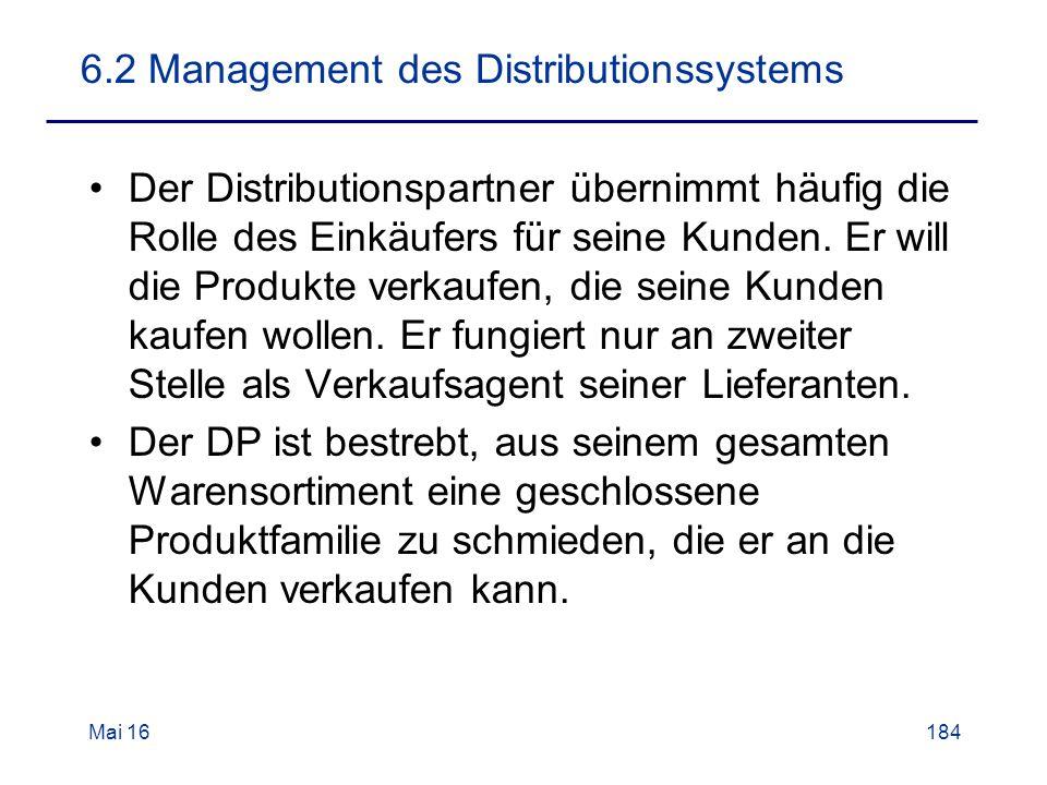 6.2 Management des Distributionssystems Der Distributionspartner übernimmt häufig die Rolle des Einkäufers für seine Kunden.