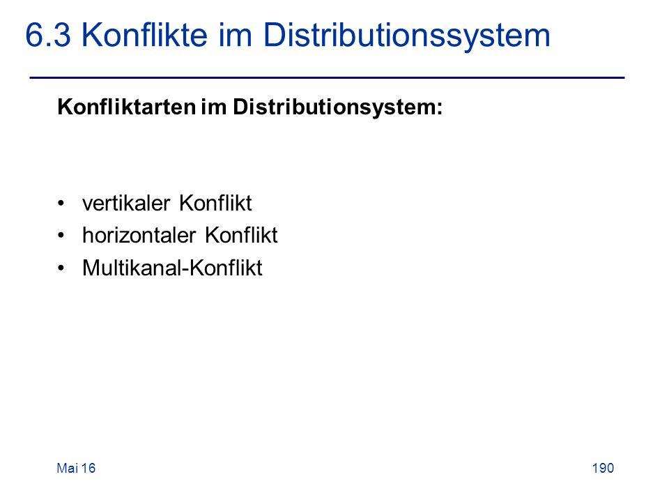 Mai 16190 6.3 Konflikte im Distributionssystem Konfliktarten im Distributionsystem: vertikaler Konflikt horizontaler Konflikt Multikanal-Konflikt
