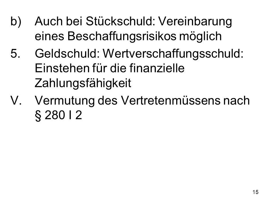 15 b)Auch bei Stückschuld: Vereinbarung eines Beschaffungsrisikos möglich 5.Geldschuld: Wertverschaffungsschuld: Einstehen für die finanzielle Zahlungsfähigkeit V.Vermutung des Vertretenmüssens nach § 280 I 2