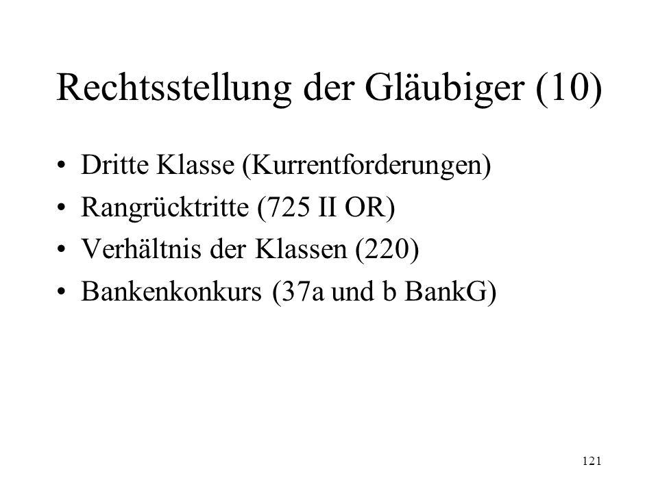 120 Rechtsstellung der Gläubiger (11) Zweite Klasse –Beitragsforderungen der Kassen für AHV/IV/UVG/EO/ALV –Prämien und Kostenbeteiligungsforderungen der sozialen Krankenversicherung –Mehrwertsteuer Fristverlängerung (219 V)