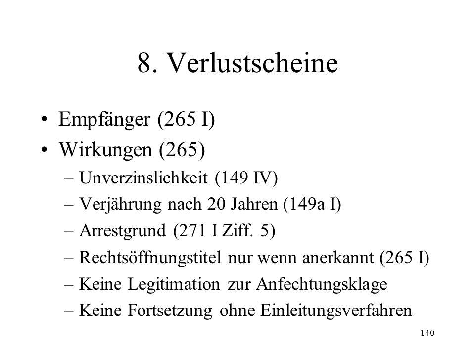 139 7. Verteilung Verteilungsliste und Schlussrechnung (261) Masseverbindlichkeiten –Massekosten (262) –Masseschulden –Reihenfolge Durchführung der Ve