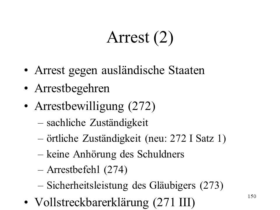 149 XIII. Arrest Allgemeines Voraussetzungen –Arrestforderung (271 I, II; 272 I Ziff. 1) –Arrestgegenstand (272 I Ziff. 3) –Arrestgründe (272 I Ziff.