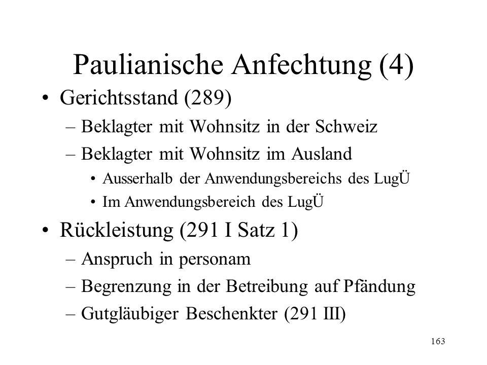 162 Paulianische Anfechtung (3) Anfechtung der Verrechnung im Konkurs (214) Berechnung der Fristen (288a) Klage und Einrede Aktivlegitimation (285a II) –in der Betreibung auf Pfändung –Im Konkurs Passivlegitimation (290)