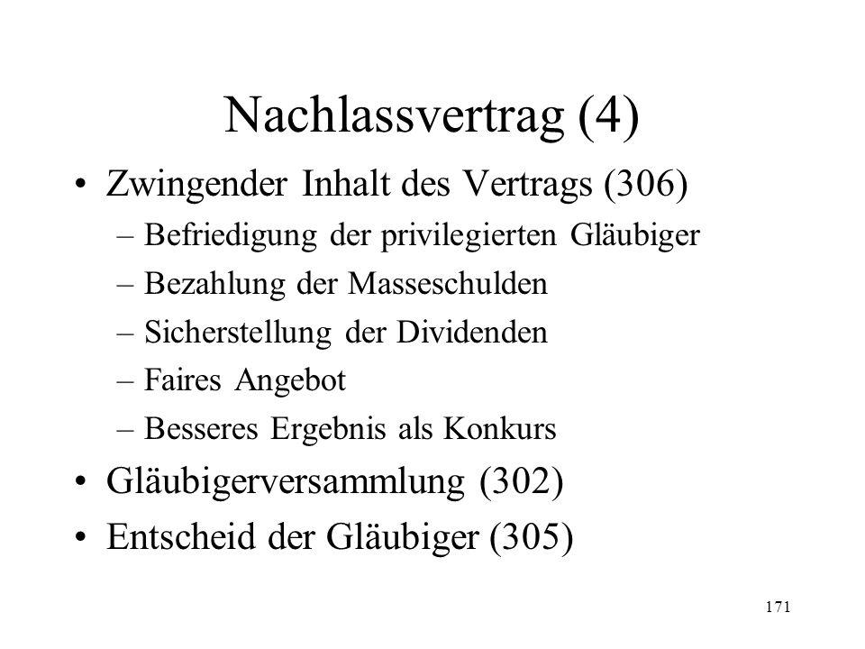 170 Nachlassvertrag (3) Nachlassstundung (Fortsetzung) –Sachwalter (295 II) –Wirkung der Stundung Betreibungs- und Zinsenstopp (297) Einschränkung Ver