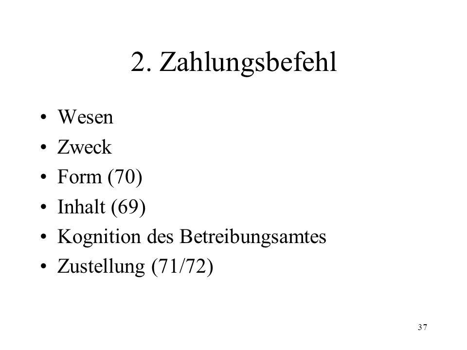 36 III. Einleitungsverfahren 1. Betreibungsbegehren Übersicht über das Betreibungs- und Konkursverfahren Funktion des Einleitungsverfahrens Das Betrei