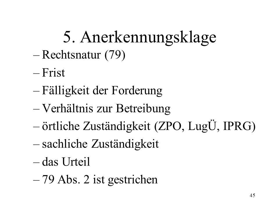 44 4. Beseitigung des Rechtsvorschlags Anerkennungsklage (79) definitive Rechtsöffnung (80/81) provisorische Rechtsöffnung (82) und Aberkennungsklage