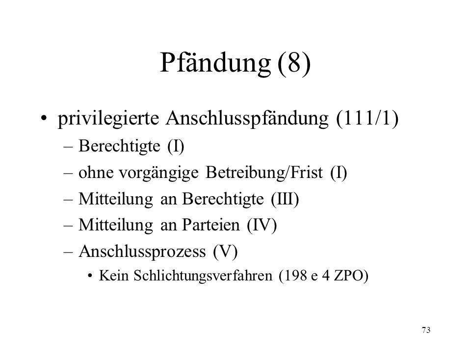 72 Pfändung (7) Pfändungsanschluss (110/111) –Milderung des Prioritätsprinzips –ordentliche Anschlusspfändung (110) –Wirkungen des Anschlusses/Rangord