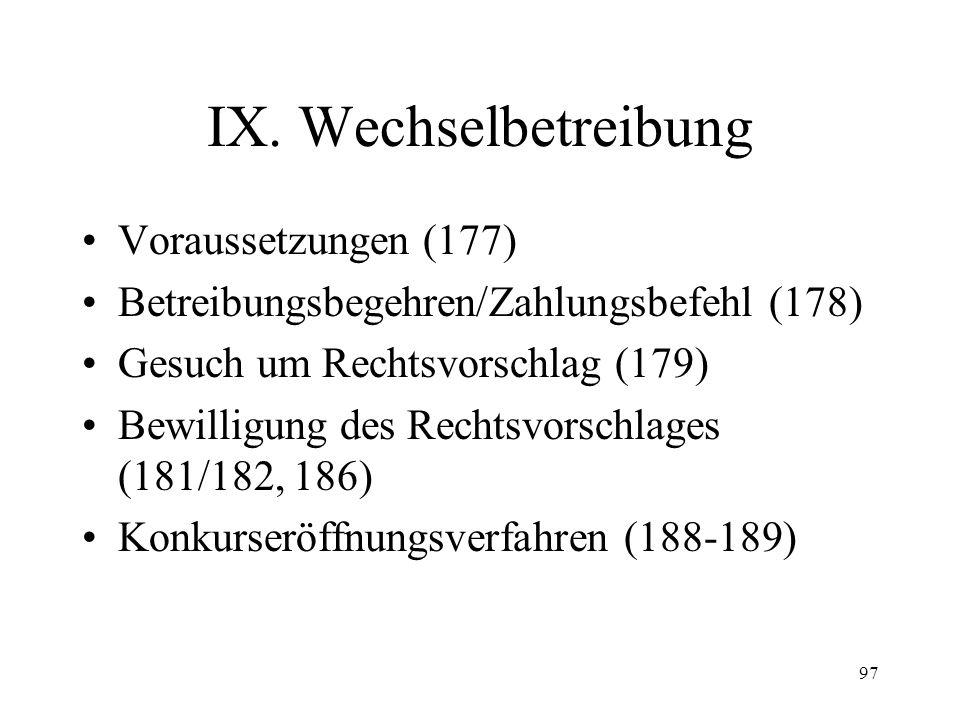 96 Ordentliche Konkursbetreibung (4) –Unechte Nova (174 I Satz 2) –Echte Nova (174 II) Tilgung Hinterlegung Verzicht Zahlungsfähigkeit –aufschiebende Wirkungen (174 III) Beschwerde an das Bundesger.
