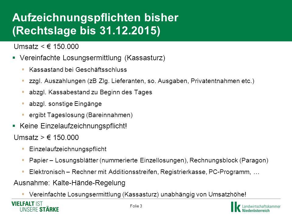 Aufzeichnungspflichten bisher (Rechtslage bis 31.12.2015)  Umsatz < € 150.000  Vereinfachte Losungsermittlung (Kassasturz)  Kassastand bei Geschäftsschluss  zzgl.