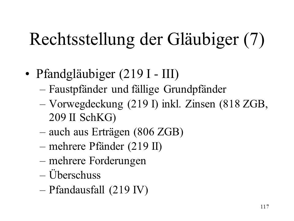 116 Rechtsstellung der Gläubiger (6) Forderungen aus Bürgschaften (215) Konkurs mehrerer Solidarschuldner (216) Teilzahlung eines Solidarschuldners (2