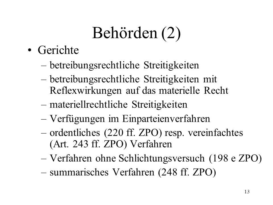 12 6. Behörden (1) Betreibungsämter (2 I Art. SchKG) Konkursämter (2 II) Aufsichtsbehörden (13) Bundesrat (15) Hilfsorgane atypische Organe