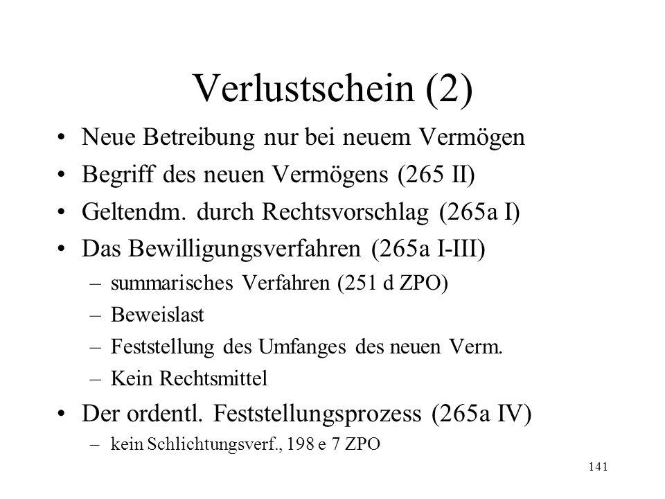 140 8. Verlustscheine Empfänger (265 I) Wirkungen (265) –Unverzinslichkeit (149 IV) –Verjährung nach 20 Jahren (149a I) –Arrestgrund (271 I Ziff. 5) –