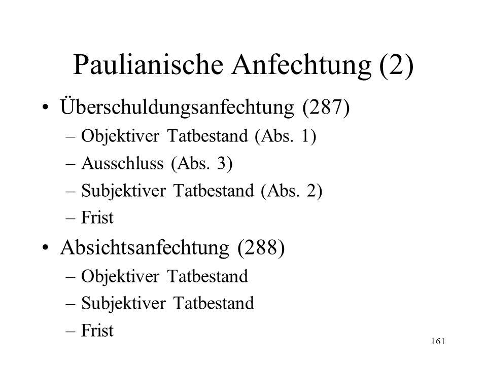 160 XVI. Paulianische Anfechtung Begriff und Funktion (285-292) Schenkungsanfechtung (286) –Objektiver Tatbestand –Subjektiver Tatbestand –Frist