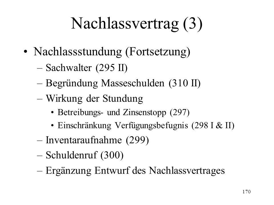 169 Nachlassvertrag (2) Nachlassstundung (293-331) –Übersicht –Gesuch (293) Legitimation Adresse Inhalt –Vorsorgliche Massnahmen (293 III) –Entscheid