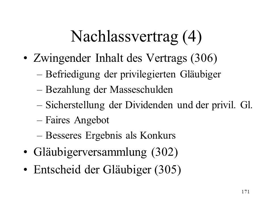 170 Nachlassvertrag (3) Nachlassstundung (Fortsetzung) –Sachwalter (295 II) –Begründung Masseschulden (310 II) –Wirkung der Stundung Betreibungs- und