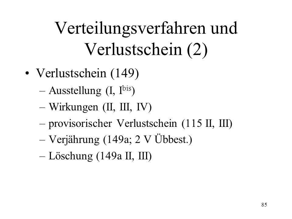 84 VI. Verteilungsverfahren und Verlustschein Verteilung (144) Nachpfändung (145) Kollokationsplan –Grundsatz (146) –Auflegung (147) –Kollokationsklag
