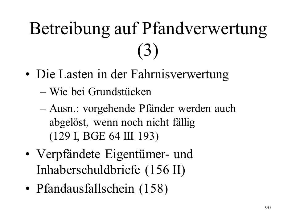 89 Betreibung auf Pfandverwertung (2) Die Lasten in der Grundstückverwertung –Dienstbarkeiten, vorgemerkte Rechte etc: überbunden (135 I, Ausn.: Doppe