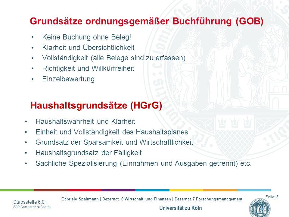 Gabriele Spaltmann | Dezernat 6 Wirtschaft und Finanzen | Dezernat 7 Forschungsmanagement Stabsstelle 6.01 SAP Competence Center Grundsätze ordnungsge