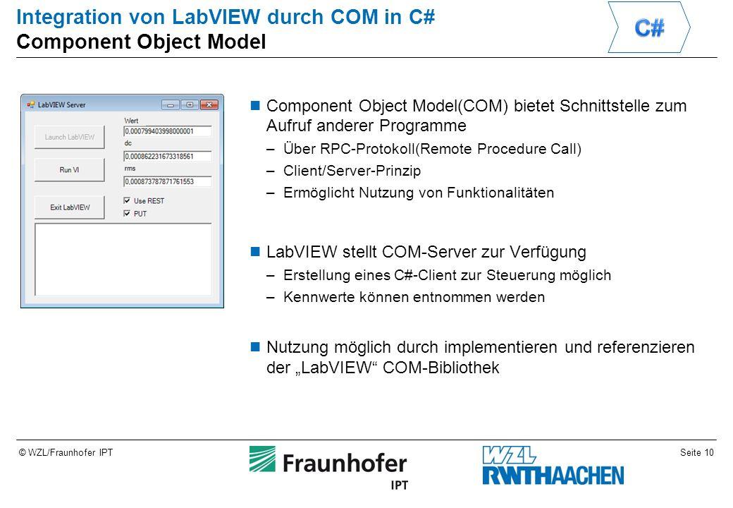 """Seite 10© WZL/Fraunhofer IPT Integration von LabVIEW durch COM in C# Component Object Model Component Object Model(COM) bietet Schnittstelle zum Aufruf anderer Programme –Über RPC-Protokoll(Remote Procedure Call) –Client/Server-Prinzip –Ermöglicht Nutzung von Funktionalitäten LabVIEW stellt COM-Server zur Verfügung –Erstellung eines C#-Client zur Steuerung möglich –Kennwerte können entnommen werden Nutzung möglich durch implementieren und referenzieren der """"LabVIEW COM-Bibliothek"""