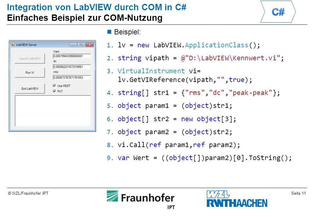 Seite 11© WZL/Fraunhofer IPT Integration von LabVIEW durch COM in C# Einfaches Beispiel zur COM-Nutzung Beispiel: 1.