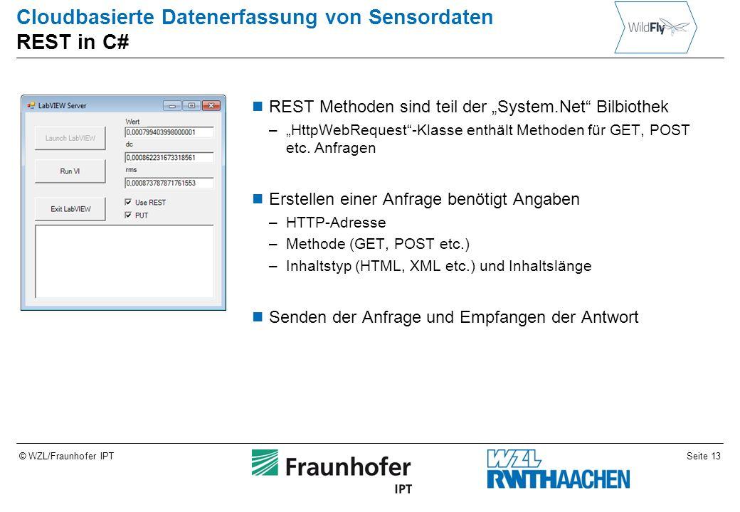 """Seite 13© WZL/Fraunhofer IPT Cloudbasierte Datenerfassung von Sensordaten REST in C# REST Methoden sind teil der """"System.Net Bilbiothek –""""HttpWebRequest -Klasse enthält Methoden für GET, POST etc."""