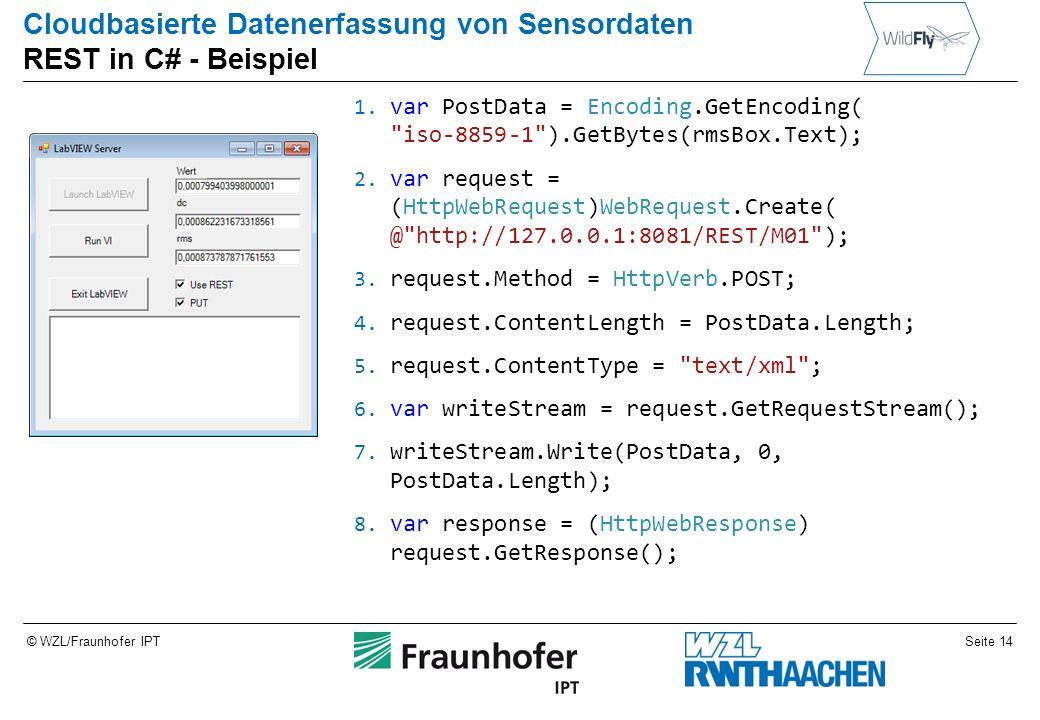Seite 14© WZL/Fraunhofer IPT Cloudbasierte Datenerfassung von Sensordaten REST in C# - Beispiel 1.