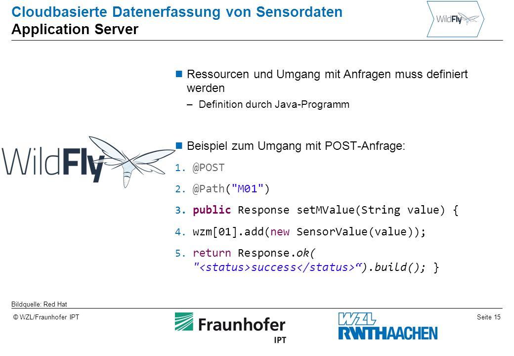 Seite 15© WZL/Fraunhofer IPT Cloudbasierte Datenerfassung von Sensordaten Application Server Ressourcen und Umgang mit Anfragen muss definiert werden –Definition durch Java-Programm Beispiel zum Umgang mit POST-Anfrage: 1.