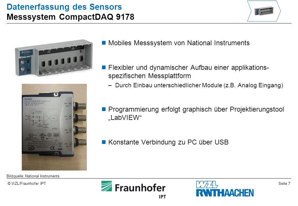Seite 8© WZL/Fraunhofer IPT Datenerfassung des Sensors Programmierung in LabVIEW 1 LabVIEW ist eine grafische Entwicklungsumgebung Einsatzgebiete sind Mess-, Regel- und Automatisierungsanwendungen Block-Diagramm dient zur Programmierung –Virtual Instruments einfügen und verbinden Front Panel zeigt z.
