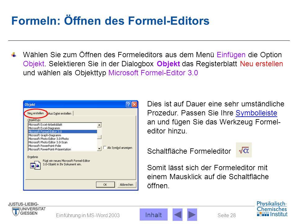 Seite 28Einführung in MS-Word 2003 Formeln: Öffnen des Formel-Editors Wählen Sie zum Öffnen des Formeleditors aus dem Menü Einfügen die Option Objekt.