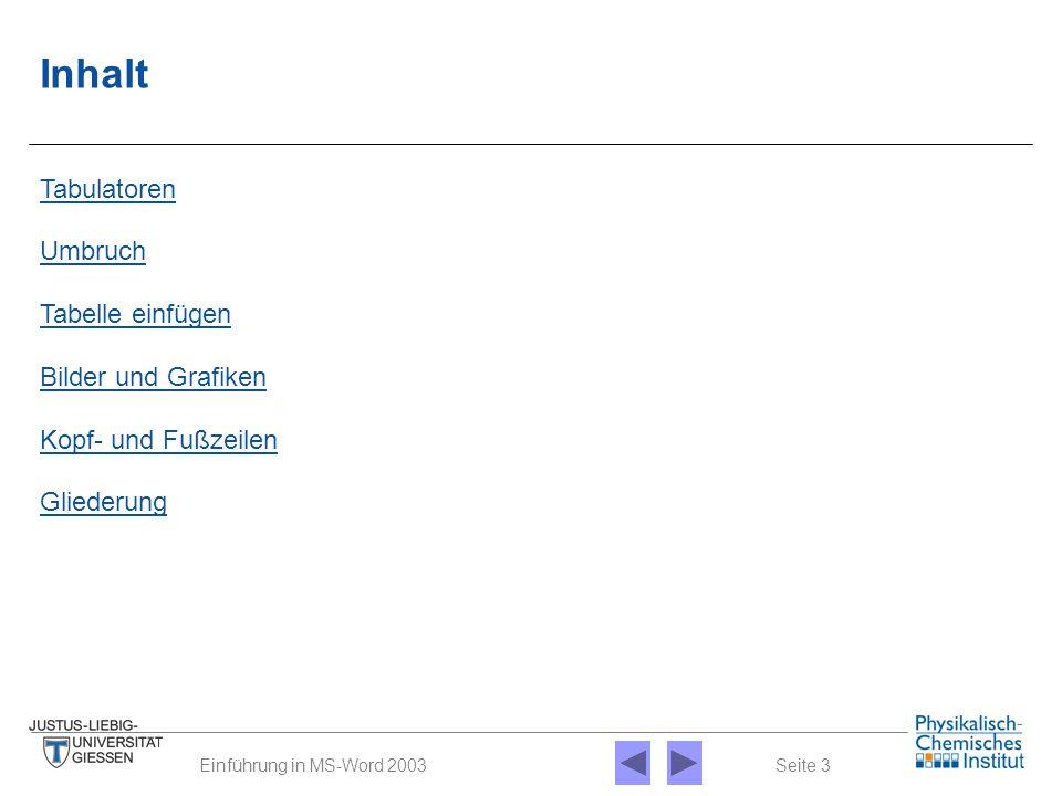 Seite 3Einführung in MS-Word 2003 Bilder und Grafiken Kopf- und Fußzeilen Gliederung Umbruch Tabelle einfügen Tabulatoren Inhalt