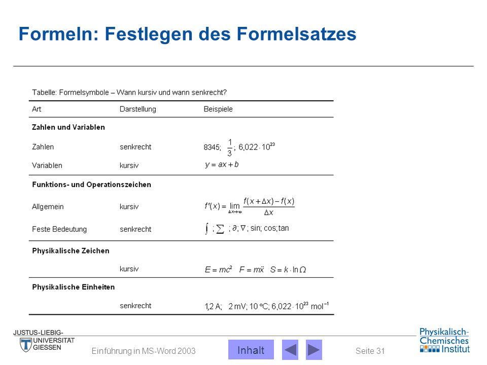 Seite 31Einführung in MS-Word 2003 Formeln: Festlegen des Formelsatzes Inhalt