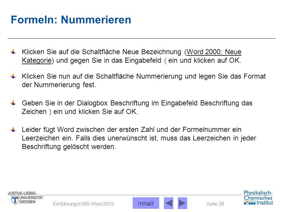 Seite 38Einführung in MS-Word 2003 Formeln: Nummerieren Klicken Sie auf die Schaltfläche Neue Bezeichnung (Word 2000: Neue Kategorie) und gegen Sie in