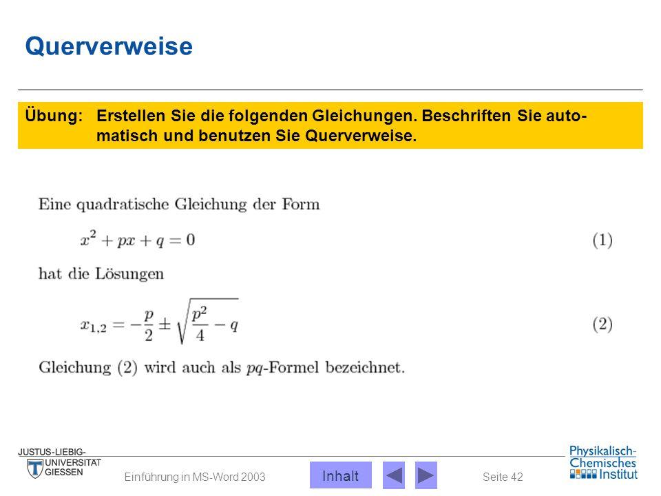 Seite 42Einführung in MS-Word 2003 Querverweise Übung: Erstellen Sie die folgenden Gleichungen. Beschriften Sie auto- matisch und benutzen Sie Querver