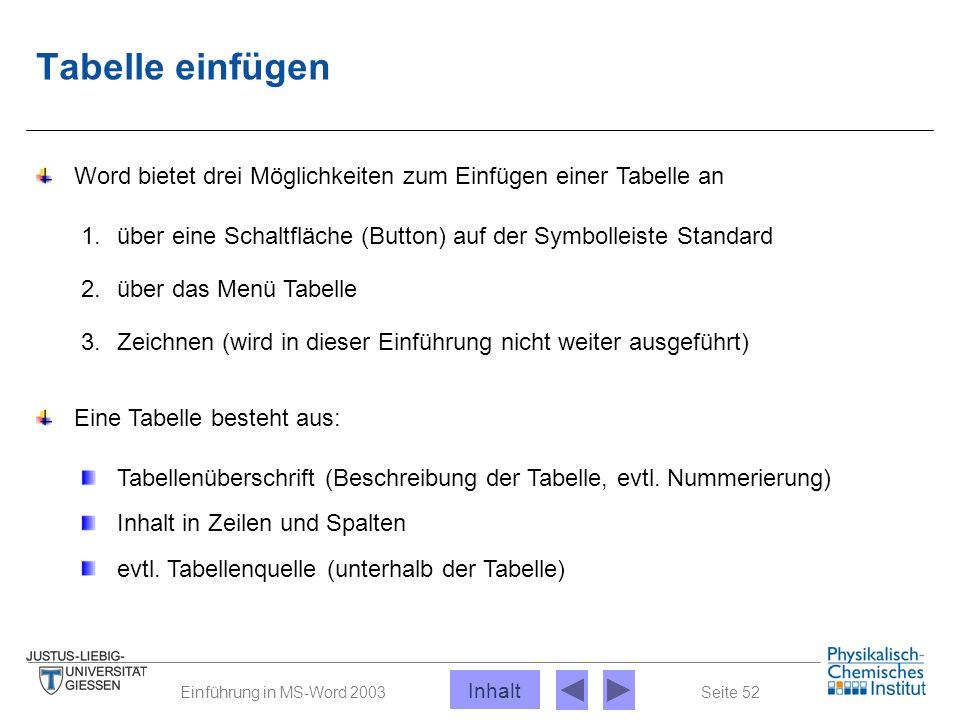 Seite 52Einführung in MS-Word 2003 Tabelle einfügen Word bietet drei Möglichkeiten zum Einfügen einer Tabelle an 1. über eine Schaltfläche (Button) au