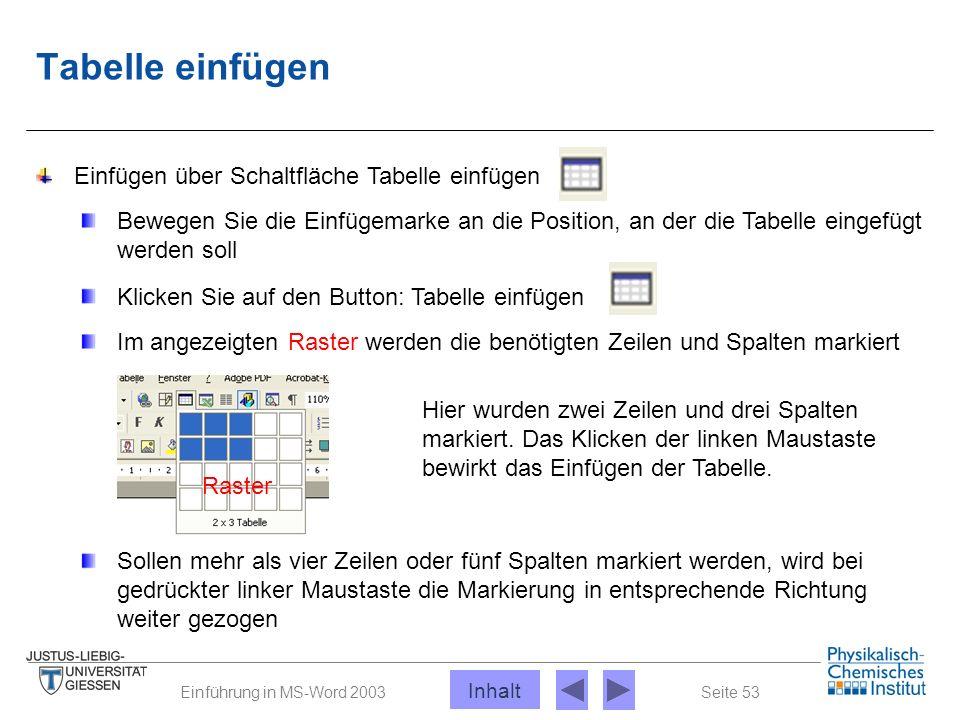 Seite 53Einführung in MS-Word 2003 Tabelle einfügen Einfügen über Schaltfläche Tabelle einfügen Bewegen Sie die Einfügemarke an die Position, an der d
