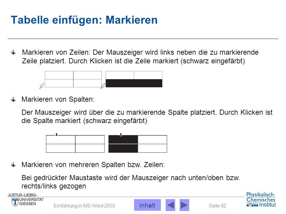 Seite 62Einführung in MS-Word 2003 Tabelle einfügen: Markieren Markieren von Spalten: Der Mauszeiger wird über die zu markierende Spalte platziert. Du