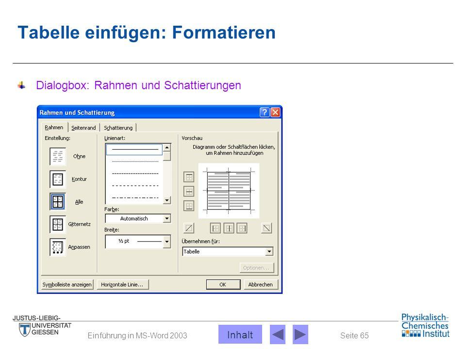 Seite 65Einführung in MS-Word 2003 Tabelle einfügen: Formatieren Dialogbox: Rahmen und Schattierungen Inhalt