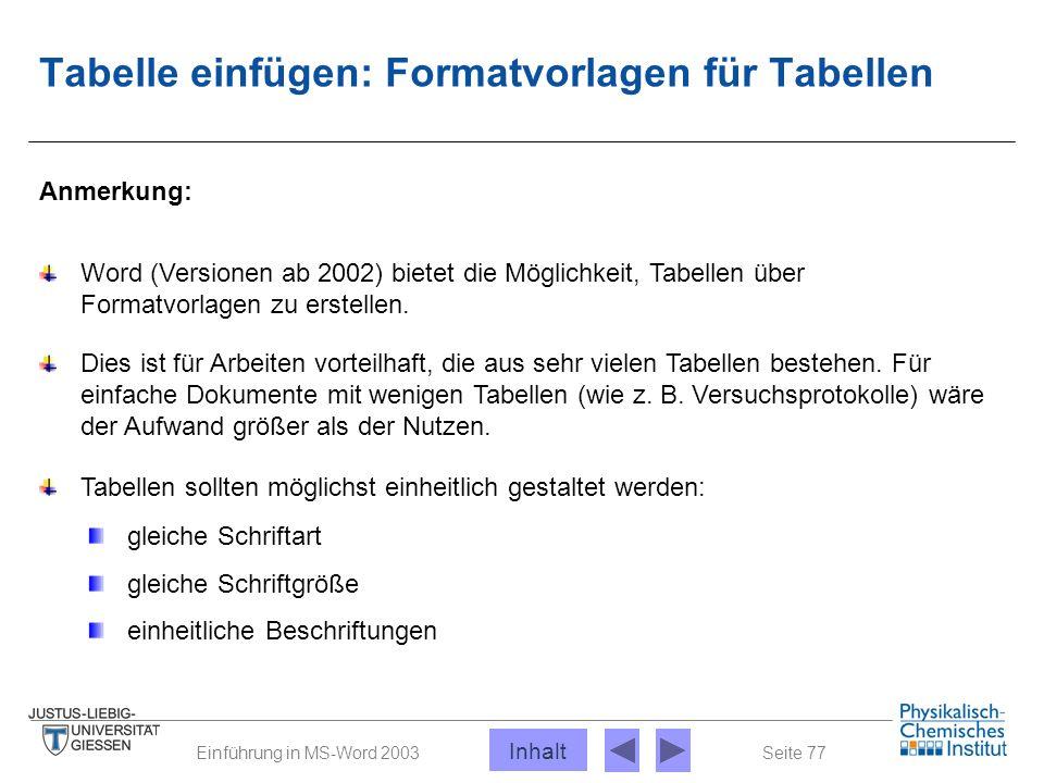Seite 77Einführung in MS-Word 2003 Tabelle einfügen: Formatvorlagen für Tabellen Anmerkung: Word (Versionen ab 2002) bietet die Möglichkeit, Tabellen