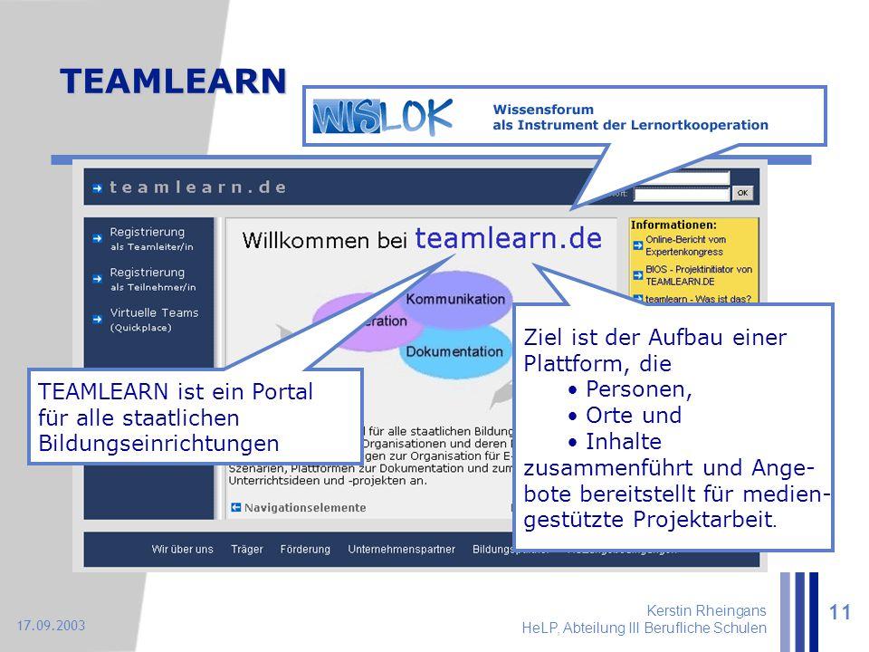 Kerstin Rheingans HeLP, Abteilung III Berufliche Schulen 11 17.09.2003 Ziel ist der Aufbau einer Plattform, die Personen, Orte und Inhalte zusammenfüh