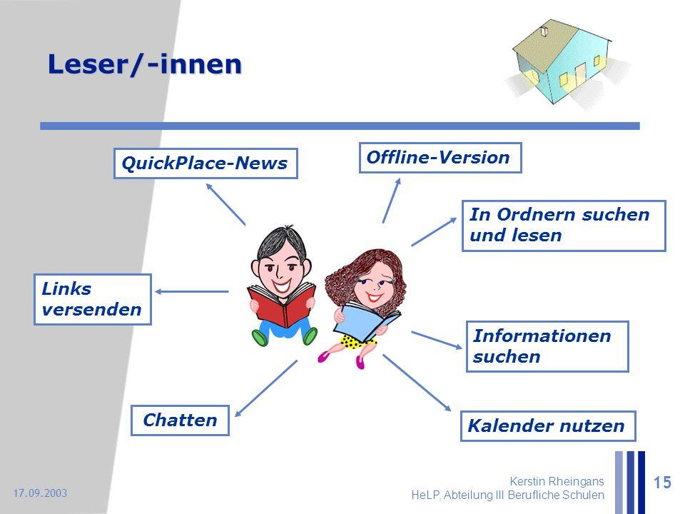 Kerstin Rheingans HeLP, Abteilung III Berufliche Schulen 15 17.09.2003 In Ordnern suchen und lesen Informationen suchen Kalender nutzen Chatten Links