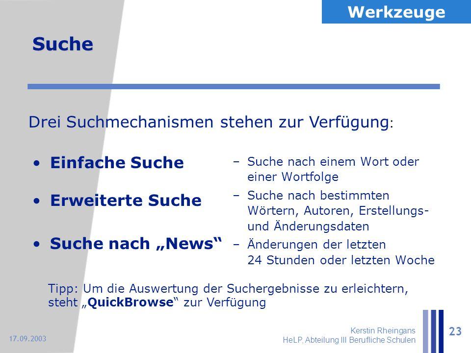 """Kerstin Rheingans HeLP, Abteilung III Berufliche Schulen 23 17.09.2003 Suche Einfache Suche Erweiterte Suche Suche nach """"News"""" –Suche nach einem Wort"""