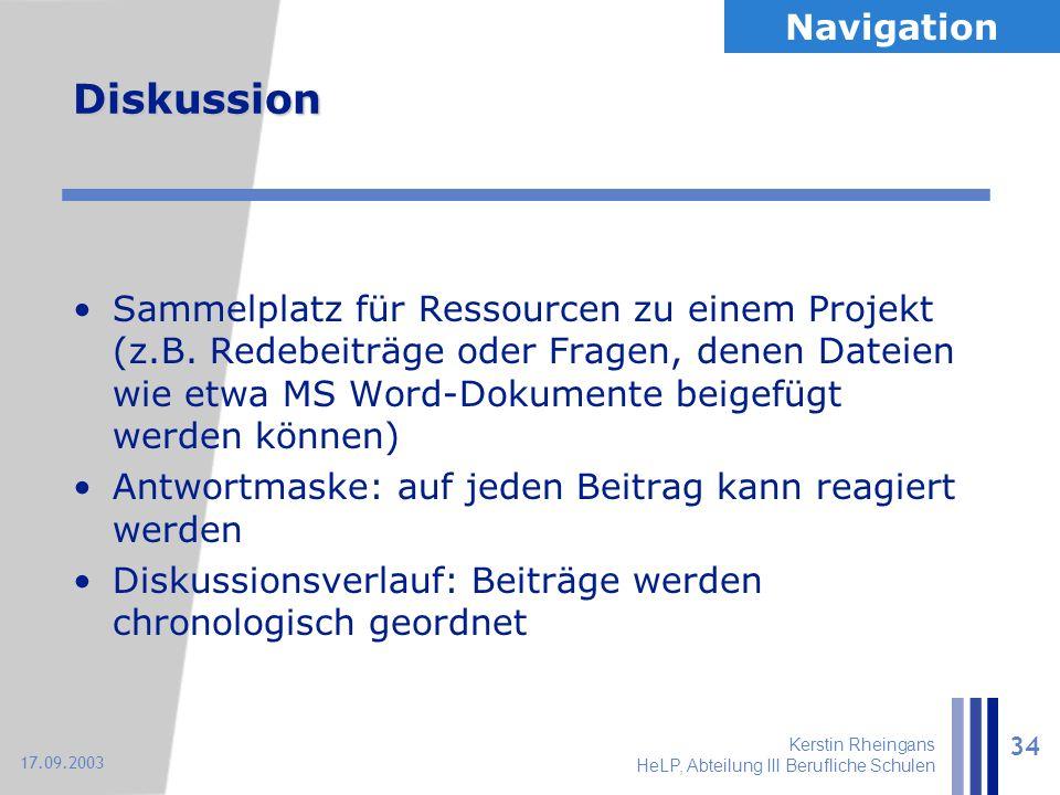 Kerstin Rheingans HeLP, Abteilung III Berufliche Schulen 34 17.09.2003 Diskussion Sammelplatz für Ressourcen zu einem Projekt (z.B. Redebeiträge oder