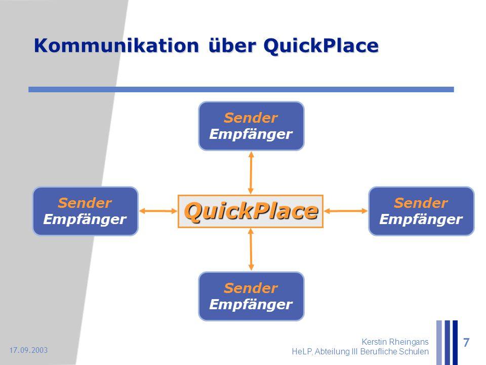 Kerstin Rheingans HeLP, Abteilung III Berufliche Schulen 7 17.09.2003 Kommunikation über QuickPlace Sender Empfänger QuickPlace
