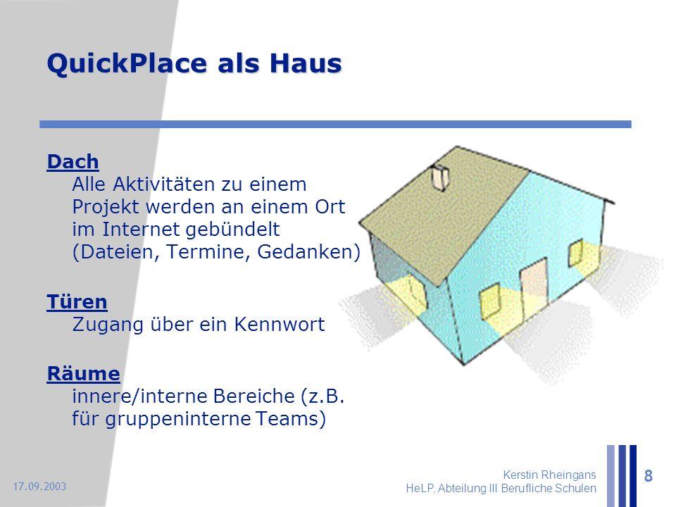Kerstin Rheingans HeLP, Abteilung III Berufliche Schulen 8 17.09.2003 QuickPlace als Haus Dach Alle Aktivitäten zu einem Projekt werden an einem Ort i