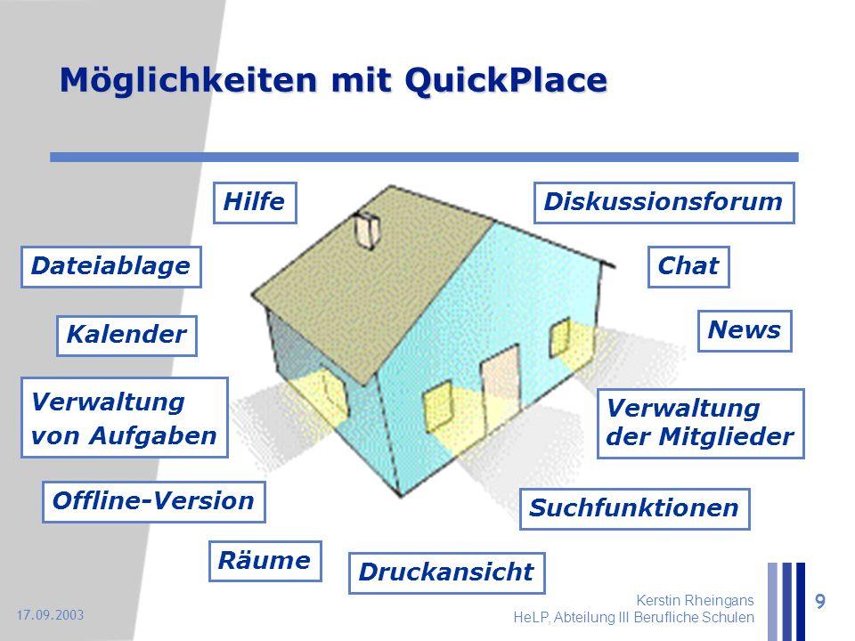 Kerstin Rheingans HeLP, Abteilung III Berufliche Schulen 9 17.09.2003 Möglichkeiten mit QuickPlace Diskussionsforum Kalender Verwaltung der Mitglieder