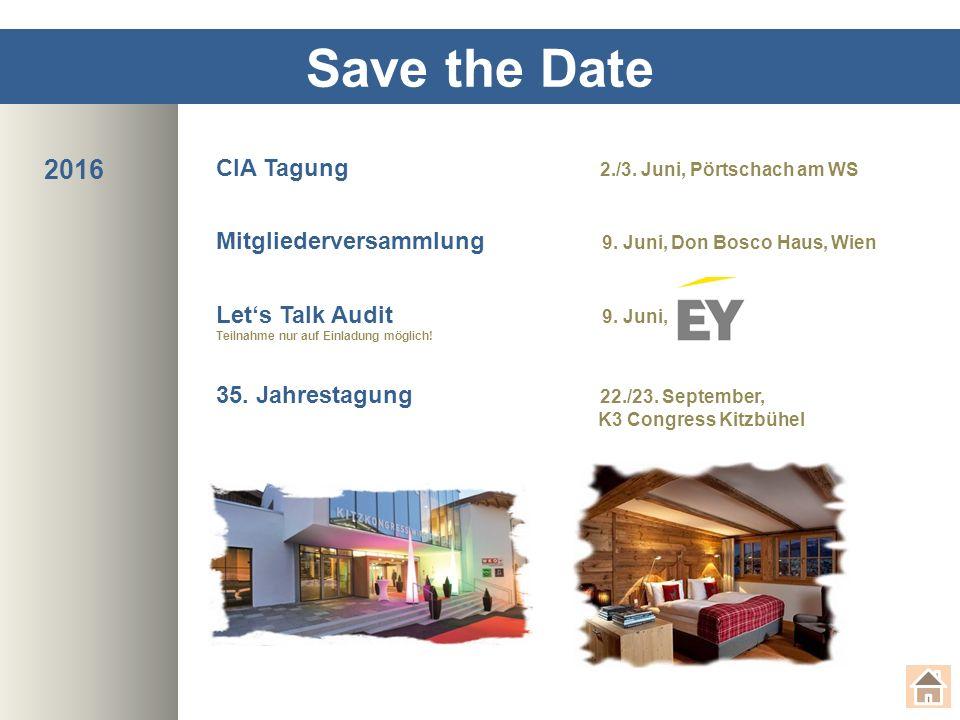 Save the Date CIA Tagung 2./3.Juni, Pörtschach am WS Mitgliederversammlung 9.