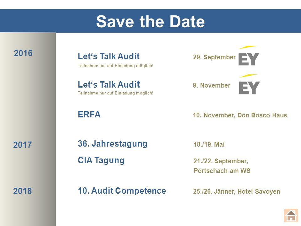 Save the Date Let's Talk Audit 29.September Teilnahme nur auf Einladung möglich.