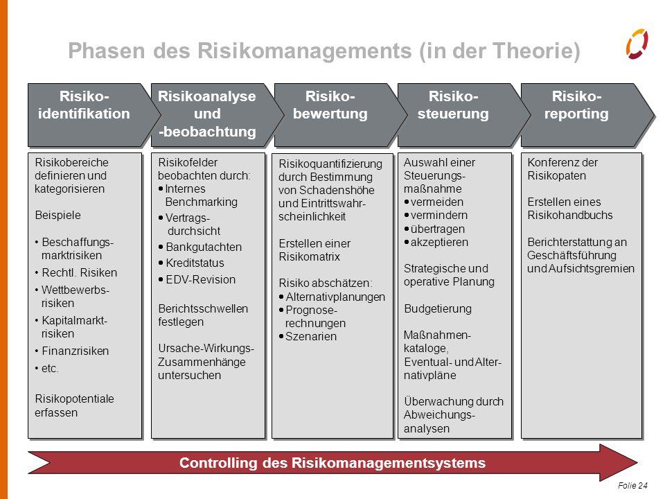 Folie 24 Risiko- reporting Risiko- reporting Risiko- steuerung Risiko- bewertung Risikoanalyse und -beobachtung Risikoanalyse und -beobachtung Risiko- identifikation Risikobereiche definieren und kategorisieren Beispiele Beschaffungs- marktrisiken Rechtl.