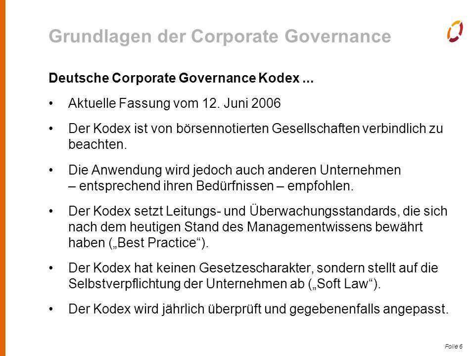 """Folie 7 Grundlagen der Corporate Governance Corporate Governance in Nonprofit-Organisationen Ausstrahlungswirkung des DCGK auf Nonprofit-Unternehmen """"Die Regierungskommission ist..."""